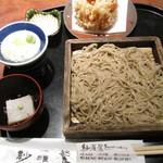 紗羅餐 - 桜海老かき揚げと二八ざるそばのセット