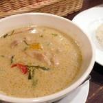 ドゥワンチャン - 【ディナーAコース¥2800】グリーンカレー。ご飯(インディカ米)は1人1皿付きます。