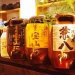 地鳥料理 万徳 別亭 安東 - 瓶で寝かせた前割り焼酎