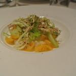 リストランテ カノフィーロ - 真ダコの温かいカルパッチョとフィノッキオ 黄トマトのケッカソース