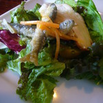 60174606 - 前菜3種(稚鮎のエスカベシュ、鶏の燻製、野菜サラダ)