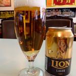 シーギリヤ - 「スリランカビール LIONラガー」(600円)。