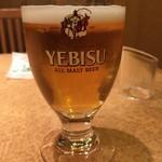 やぶそば - 生ビール(小)300円  う、うまい‥!