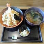 蕎花 - 料理写真:天丼(並)+温蕎麦
