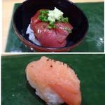 稜庵 - ◆ミニ鉄火丼・・マグロはヅケにされていて、いいお味ですよ。 ◆自家製明太子・・マイルドテイストで食べやすい。