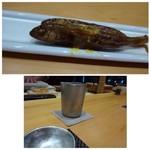 60190371 - ◆お通しの「もろこ」、よくお味が浸みていますので、お酒に合いますね。                       ◆お鮨には「日本酒」でしょ、と「東一(1合:1000円)を。