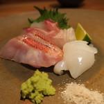 鈴しろ - 【再訪2】スミイカ、金目鯛の焼霜造り、真鯛の昆布締め