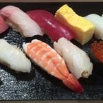 つきぢ神楽寿司 - ランチセットの握り(アップ)