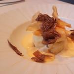 60213585 - 菊芋のスフォルマート ラスケーラチーズのフォンデュ 黒トリュフがけ