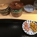 てんぷら食堂 ひさご - いか + 大根の醤油漬け