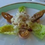 60242779 - タラとポテトのブランダード トマトのムース サラダセザー パルムザンチーズのラペ