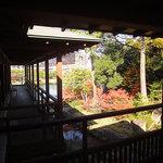ガーデンレストラン徳川園 - 廊下からは徳川園の池につながる滝を見下ろすことができる。