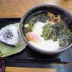 60270611 - 山菜とろろ蕎麦、おにぎりセット(\1200)