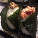 おにぎり処・酒処 居酒屋 ゆた - 肉味噌(250円)と鮭親子(280円)