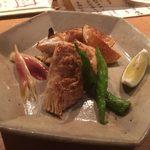 60282535 - nakamura:平政(平鰤)とスズキのカマのバター醤油焼