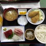 魚市場食堂 - 鮪とカンパチのお刺身定食 2016.12