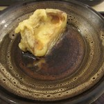 人形町 双庵 - 厚い椎茸、天汁が用意される