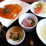 chaini-zudainingufuukirou - 鱈とキノコのチリソース炒めランチ 720円