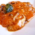 chaini-zudainingufuukirou - 鱈とキノコのチリソース炒めアップ
