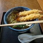 そば処みのや - 天ぷら蕎麦 とてもシンプルで、かつおだしがきいていてる。えび天もサクサク、茶そばも何のも言えないおいしさ。
