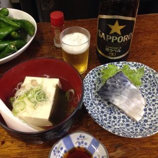 富士屋本店 - 2016.12  湯豆腐&しめ鯖&瓶ビール