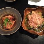 松吟庵 - 蔵王豚の角煮&茄子の揚げたし