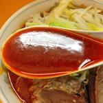 ラーメンエース - ラーメン650円+旨辛(大辛)20円(スープ)