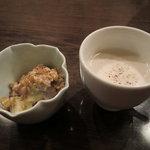元町 梅林 - 先付けとごぼうのスープ