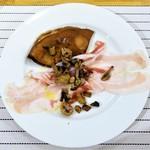 イル・リストパスティフィーチョ・ダ・アッカ - 栗粉のクレープ  パルマ産パンチェッタと自家製のリコッタチーズとソテーしたキノコ