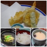 60378993 - ◆上:かに刺身。蟹の量が少ないこと。身も少ないですが、甘みはあります。                       ◆下:かに酢のもの。これも量が少なくて。◆茶碗蒸し。                       ◆ご飯は普通。                       ◆お吸い物