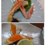 60378995 - ◆上:かに刺身。蟹の量が少ないこと。身も少ないですが、甘みはあります。                       ◆下:かに酢のもの。これも量が少なくて。