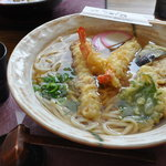 ご麺や - 名物びっくりジャンボ天ぷらうどん1,280円
