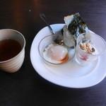 キッチン山田農園 - 料理写真:モーニングおにぎりセットと温かい緑茶