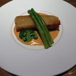 60388030 - 鱈のムースと小柱のパートブリック包み焼き ソース・ショロン