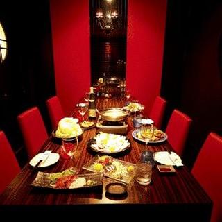 赤×黒のスタイリッシュVIP個室!