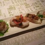 浪速割烹 喜川 - 割鮮(炙り):のどぐろ、鰆、太刀魚、鰆、太刀魚