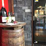 イタリアン酒場BALUCK - 入口。ドラクエでよくあるワイン樽。たまにちいさなメダルがあるよ