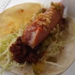 マチェーテ - ソーセージとひき肉のタコス