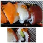 幸寿司 - ◆間に胡瓜・卵焼きなどが入る巻寿司の上に「鮪」「鮭」などが盛られています。