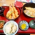 そば処 一源 - 料理写真:えび天丼・えび天ぶっかけそばセット880円