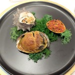 綱町三井倶楽部 - 2016栄螺、蛤、蝦夷鮑を3つの味付けで