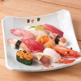 魚平自慢のお寿司を盛り合わせた逸品
