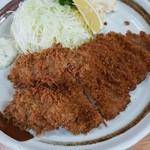 燕楽 - とんかつ定食+カキフライ