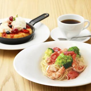 【ランチ限定】パスタとスキレットパンケーキセット!!