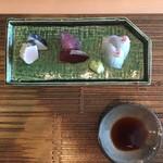 鮨 そら - 鰆の炙り、鮪赤身漬け、真鯛