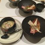 海乃四季 - 茶碗蒸し、鯨ベーコン