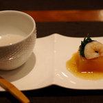 Japanese Vegetable House 菜 - お通しは2品で600円(今日はお芋のスープと人参豆腐)