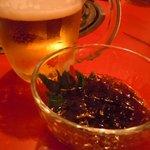 鬼亭 - お通し&ビール