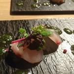 60542626 - 福岡県産 サワラのカルパッチョ 大葉ソース