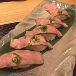 しゃぶしゃぶ すき鍋 おもき - 極 松阪牛A5の炙りずし/おもき銀座